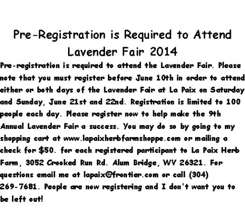 Lavender Fair Pre REgistrtion required no photo