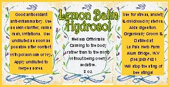 Hydrosol label - lemon balm