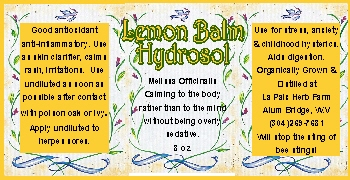 Hydrosol label - lemon balm