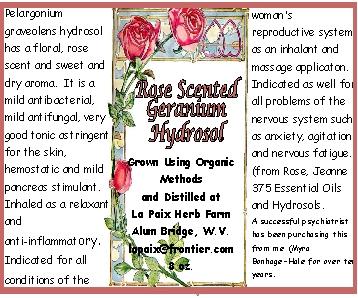 Hydrosol label - Rose Scented Geranium