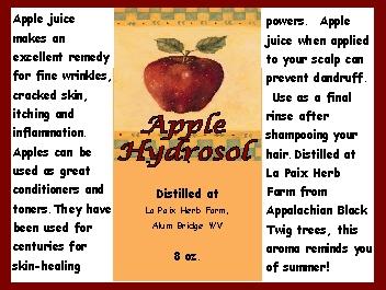 Hydrosols - Apple label