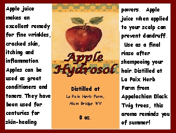 Hydrosols - Apple label