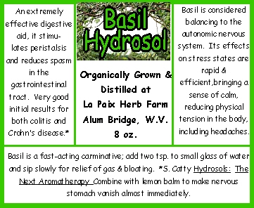 Hydrosols Basil best label