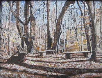 Painting La Paix Woods in Winter